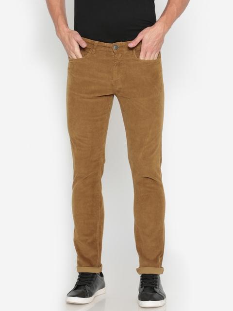 Pepe Jeans Men Brown Slim Fit Solid Corduroy Trousers