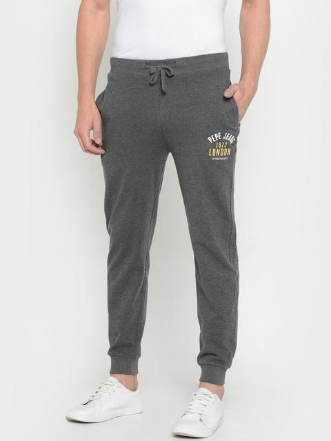 Pepe Jeans Men Grey Slim Fit Solid Joggers