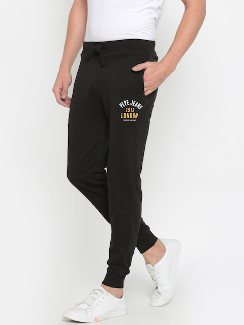 Pepe Jeans Men Black Slim Fit Solid Joggers