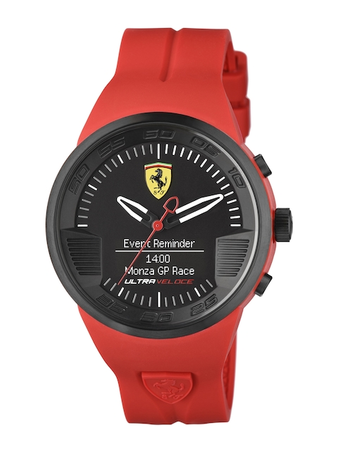 SCUDERIA FERRARI Men Black & Red ULTRAVELOCE Smart Watch 0830374