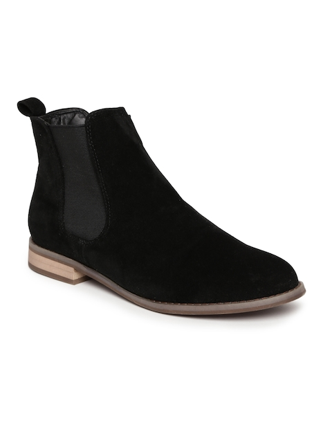 Carlton London Women Black Solid Synthetic Mid-Top Flat Boots