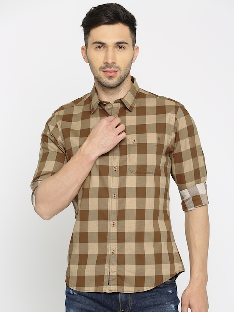 Indian Terrain Men Beige & Brown Regular Fit Checked Casual Shirt