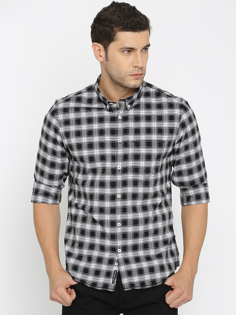 Indian Terrain Men Black & White Slim Fit Checked Casual Shirt