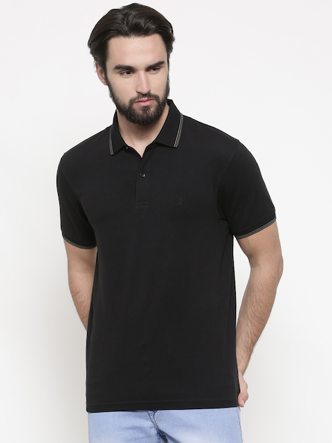 Indian Terrain Men Black Solid Polo Collar T-shirt