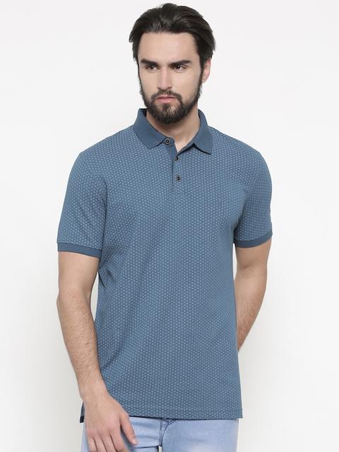 Indian Terrain Men Blue Self Design Polo Collar T-shirt