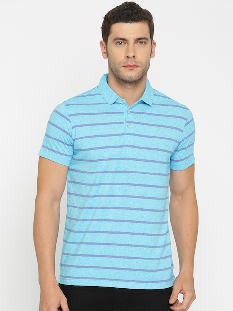 Indian Terrain Men Blue & Purple Striped Polo T-shirt