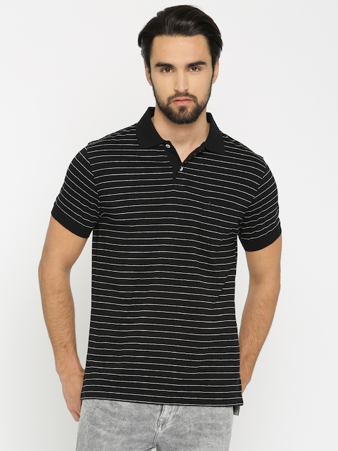Indian Terrain Men Black & Grey Striped Polo T-shirt