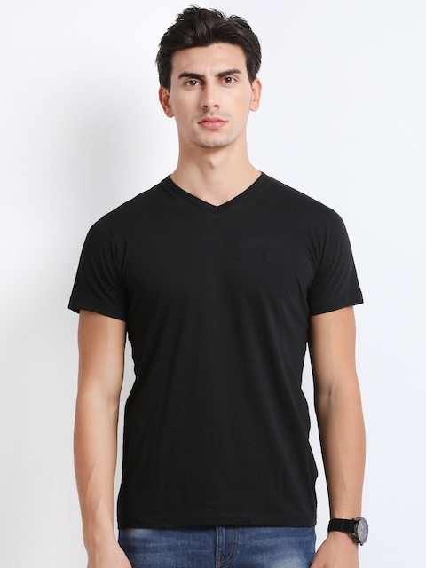 Indian Terrain Men Black Solid V-Neck T-shirt