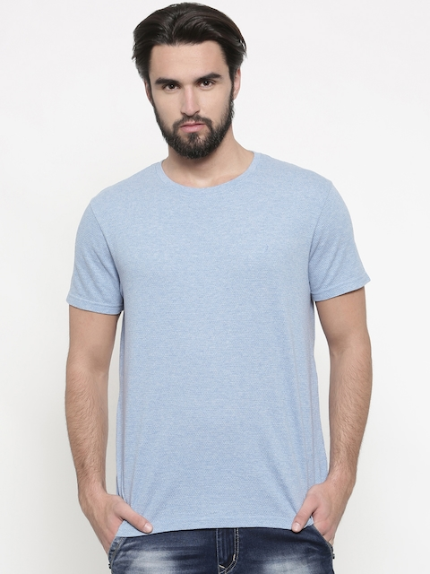 Indian Terrain Men Blue Self Design Round Neck T-shirt