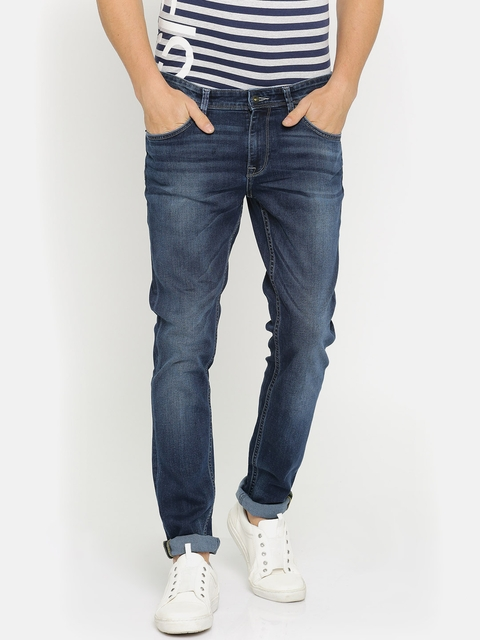 Indian Terrain Men Blue Skinny Fit Low-Rise Clean Look Stretchable Jeans