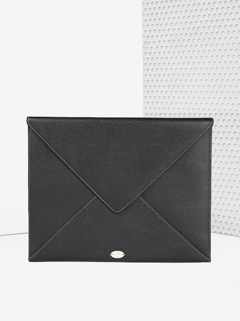 LANCEL Paris Unisex Black Leather iPad Envelope Sleeve
