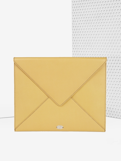 LANCEL Paris Unisex Mustard Yellow Leather iPad Envelope Sleeve