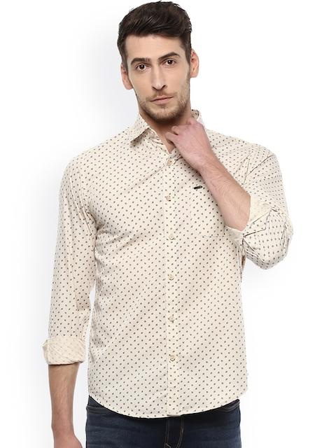 Peter England Casuals Men Beige Slim Fit Printed Casual Shirt