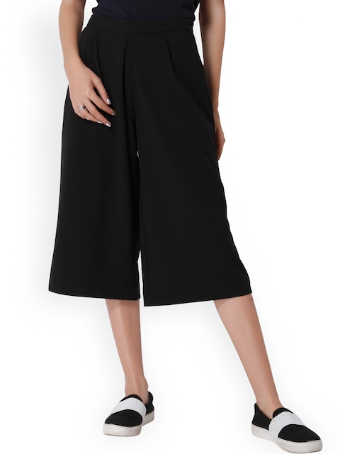 ONLY Women Black Loose Fit Solid Culottes