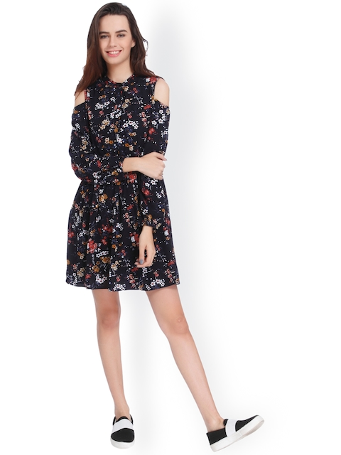 ONLY Women Black Printed A-Line Dress