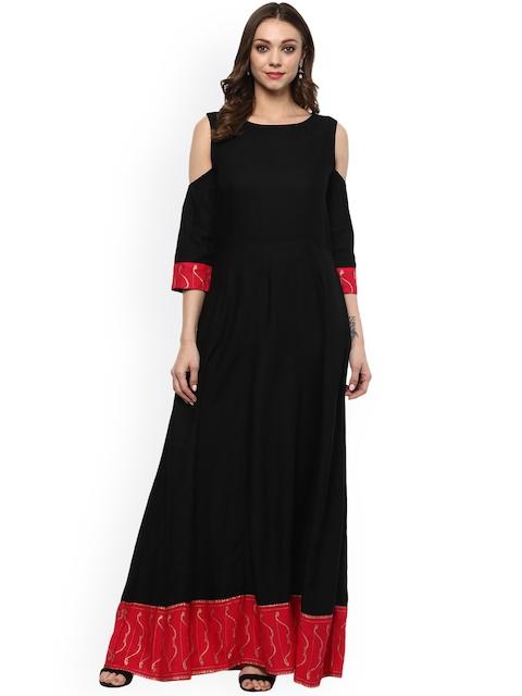 Evam Women Black & Pink Solid Anarkali Dress