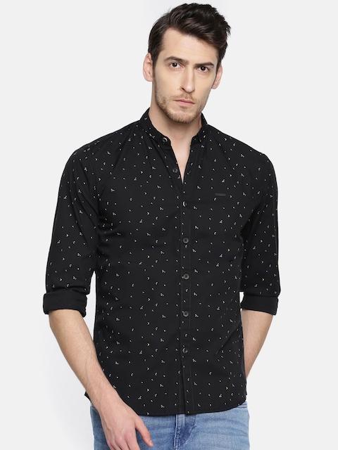 Wrangler Men Black Slim Fit Printed Casual Shirt