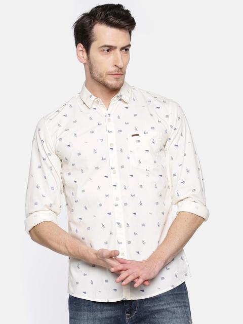 Wrangler Men Beige Regular Fit Printed Casual Shirt