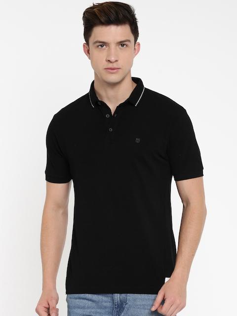 Wrangler Men Black Solid Polo T-shirt