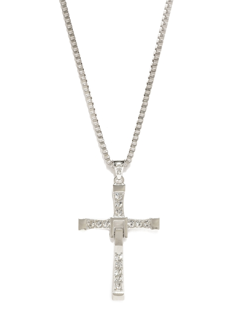Moxie Men Silver-Toned Cross Shaped Pendant with Chain