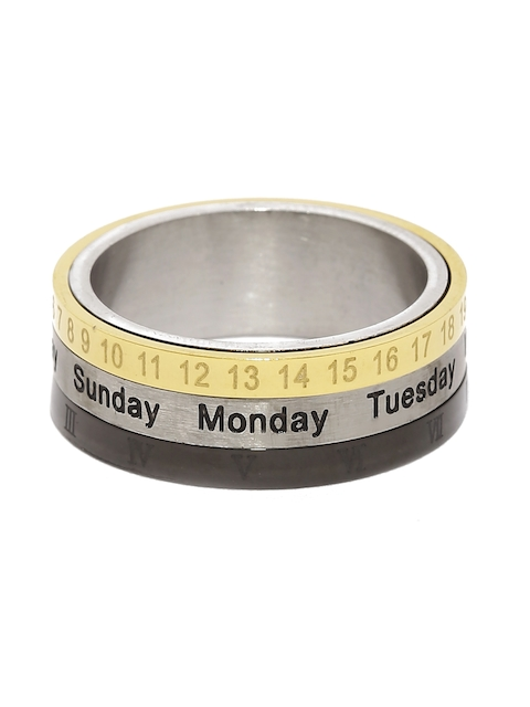 Moxie Men Gold-Toned & Black Revolving Calender Style 316L Stainless Steel Ring