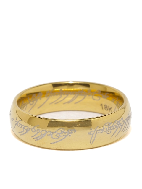 Moxie Men Gold-Toned Lord of the Ring Hollywood Style 316L Stainless Steel Ring