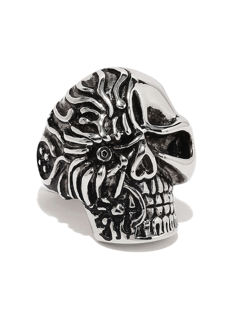 Moxie Men Oxidized Silver-Toned Tereminator Hollywood Stle Skull 316L Stainless Steel Ring