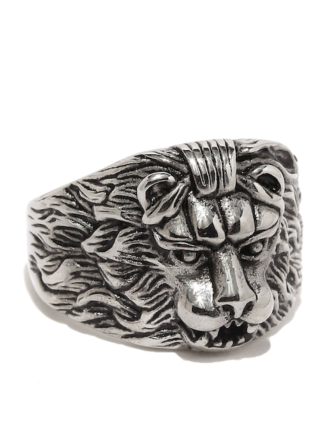 Moxie Men Oxidized Silver-Toned Fiery Lion Face Ring