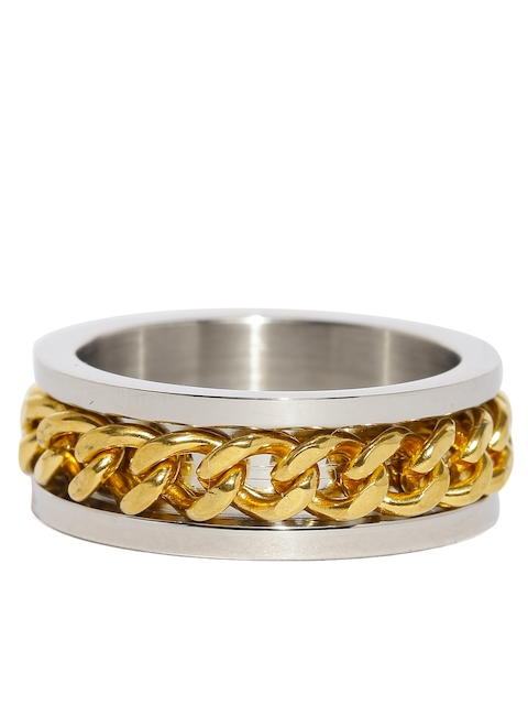 Moxie Men Silver-Toned & Gold-Toned Ring