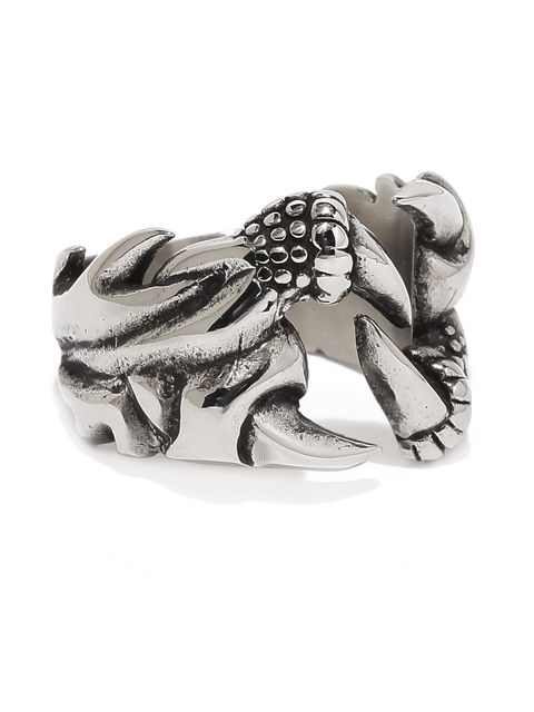 Moxie Men Oxidised Silver-Toned Eagle Paw shape Silver Oxidized 316L Stainless Steel Ring