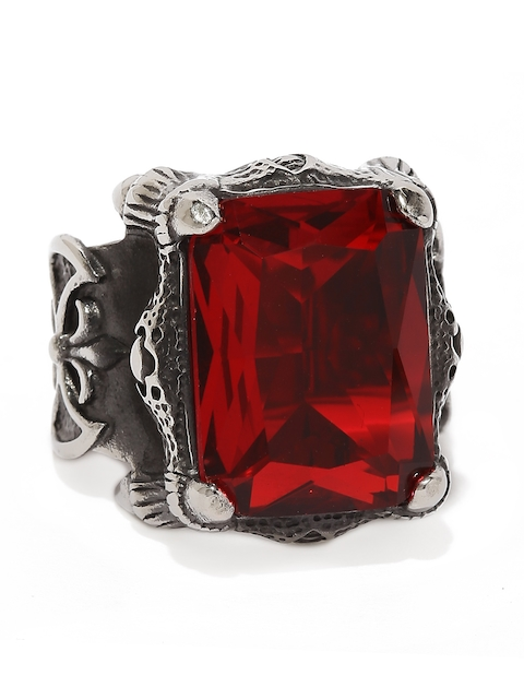 Moxie Men Gunmetal-Toned & Red Big Crystal Topped 316L Stainless Steel Ring