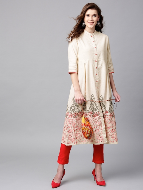 Tulsattva Women Off-White Block Print A-Line Kurta with Potli Bag