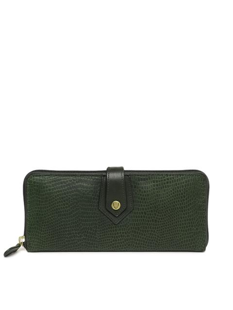 Hidesign Women Green Textured Leather Zip Around Wallet