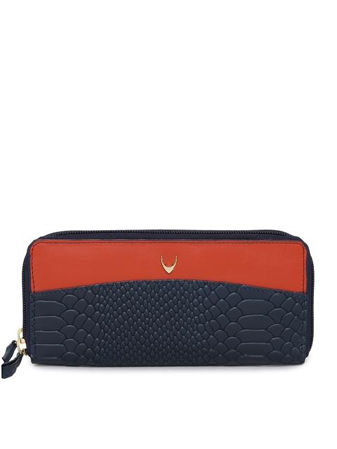 Hidesign Women Blue & Orange Colourblocked Zip Around Wallet