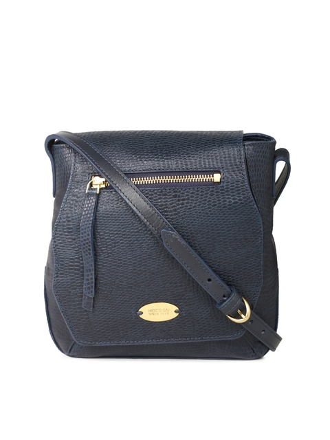 Hidesign Navy Blue Textured Sling Bag