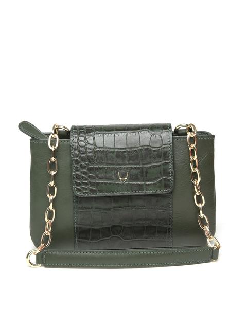 Hidesign Olive Green Leather Croc Textured Handheld Bag