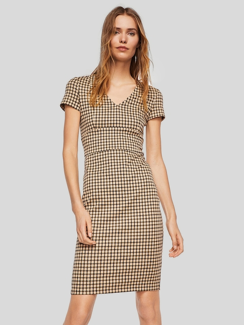 MANGO Women Beige & Black Checked Sheath Dress