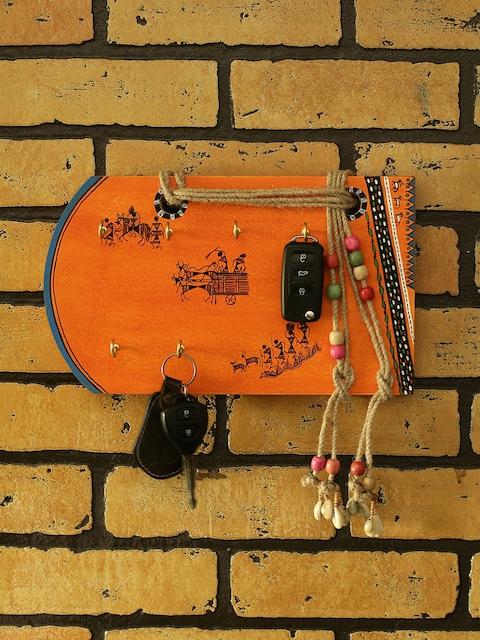 ExclusiveLane Orange Warli Wood Hand-Painted Key Holder