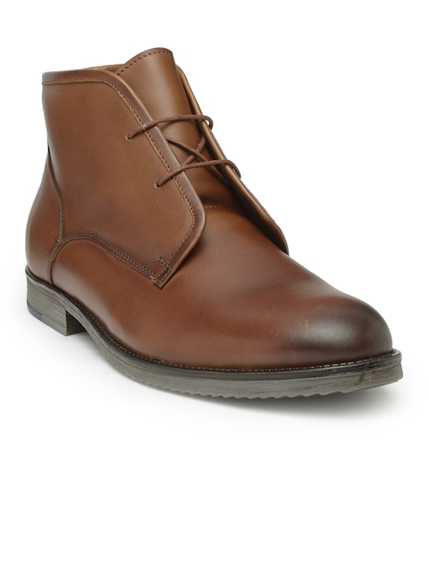 Teakwood Leathers Men Tan Solid Leather Mid-Top Flat Boots