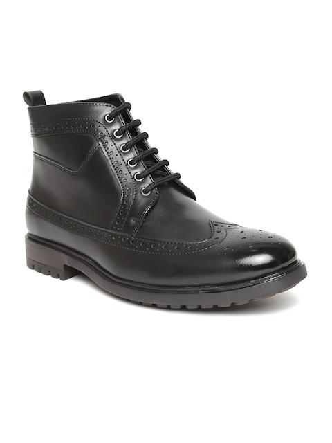 San Frissco Men Black Solid High-Top Flat Boots