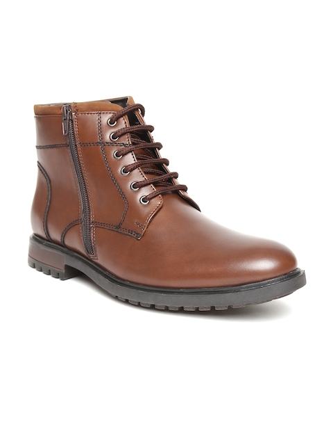 San Frissco Men Brown Solid High-Top Flat Boots