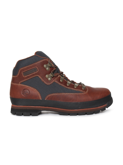 Timberland Men Brown & Blue Leather Hiking Boots