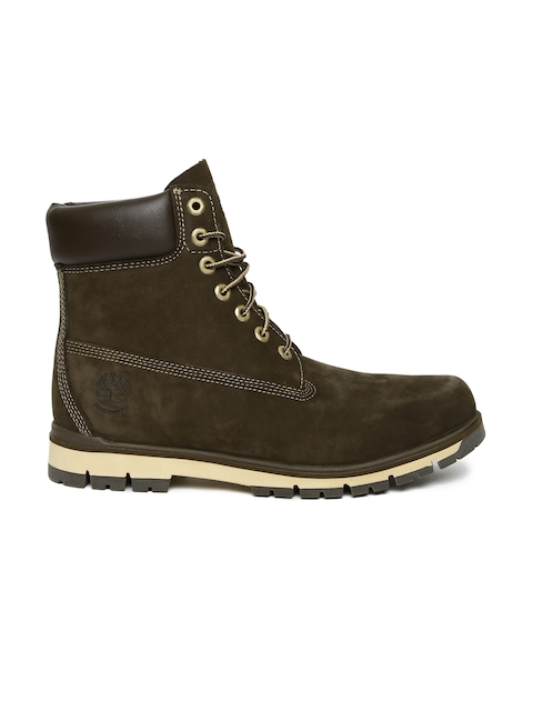 80e60e25f34cbc Timberland Men Brown RADFORD 6 WP Leather Solid High-Top Flat Boots