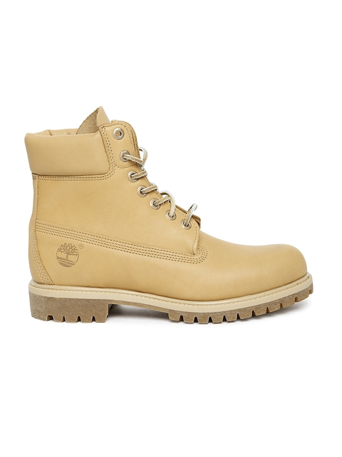 Timberland Men Tan Brown 6 PREM WP Solid Leather High-Top Flat Boots