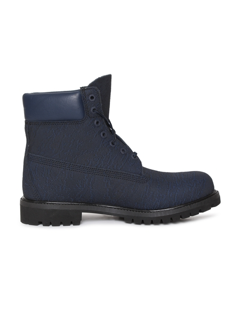 Timberland Men Blue Solid Leather High-Top Flat Boots