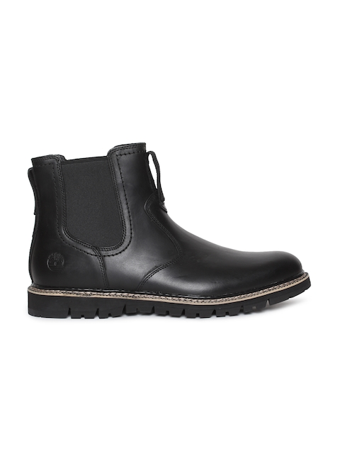 Timberland Men Black Solid Leather Mid-Top BRITTON HILL Chelsea Boots