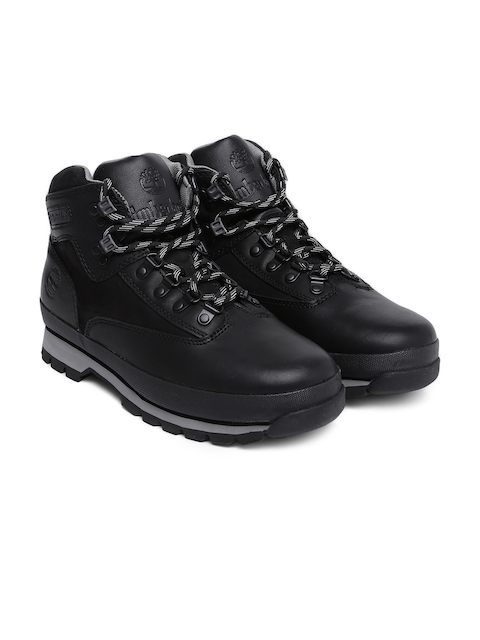 Timberland Men Black Solid Leather EUROHIKER Mid-Top Hiking Boots