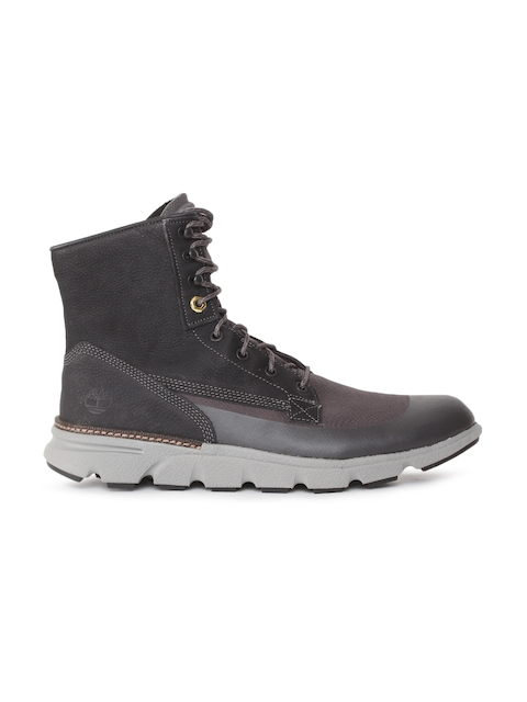 Timberland Men Black Solid Leather Mid-Top Flat Boots