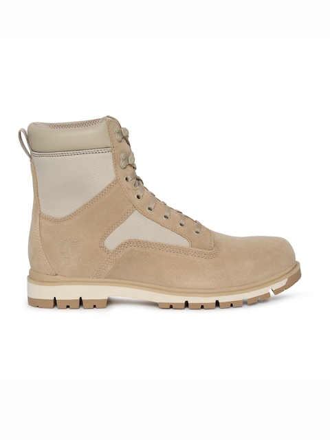 Timberland Men Beige Colourblocked Leather Mid-Top Waterproof Flat Boots