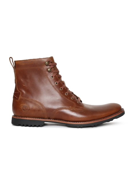 Timberland Men Tan Solid Leather Mid-Top Flat Boots